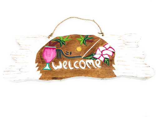 Welcome  Sign w/ Diamond Head Sunset Sign - Tropical Decor | #snd2504950