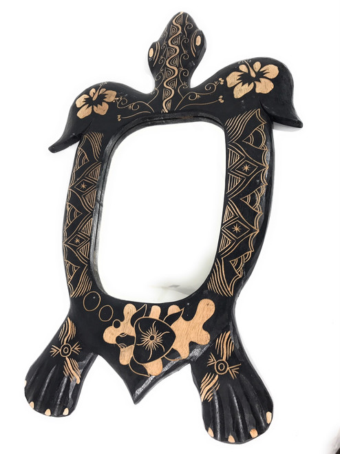"Turtle Mirror 32"" - Hand Carved 