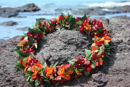 "Special Bougainvillea w/ Hibiscus 18"" - Hawaii Silk Leis"