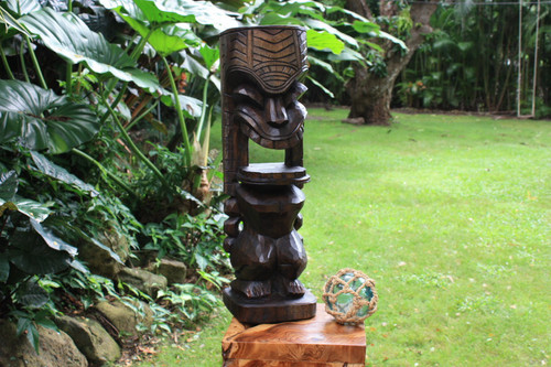"Warrior Ku Tiki Sculpture 26"" Hawaii Stained - Hand Carved 