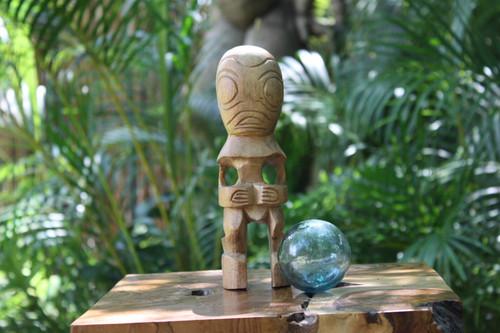 """Fisherman's Good Luck Tiki Totem 8"""" Natural - Hawaiian Tiki Bar Decor"""