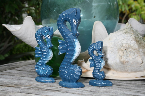 Seahorses Set of 3 - Rustic Blue Nautical Decor | #ort17009s3b