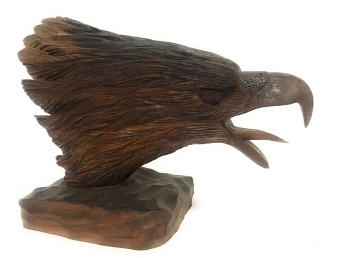 """Exquisite Screaming Eagle Head 10"""" X 13"""" Hand Carved 