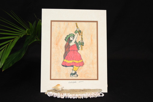 TAPA PAINTING CLOTH HULA DANCER - 11 X 14 TIKI
