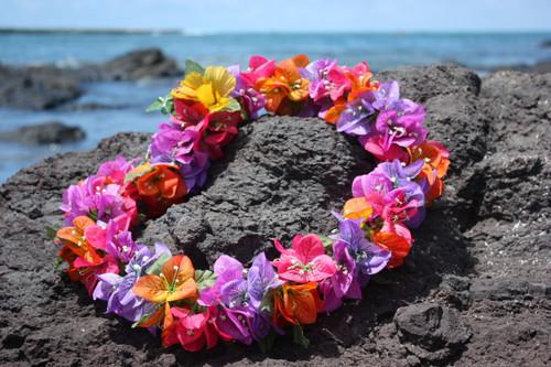 "Bougainvillea Poepoe, Multi Colored 18"" - Hawaii Silk Leis"