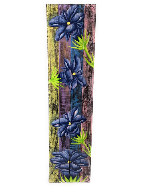 "Gentian Flower Painting on Wood Planks 32"" X 8"" Rustic Wall Decor 