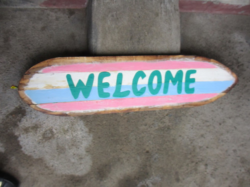 """Welcome"" Rustic Sign on Wood Planks 40"" 