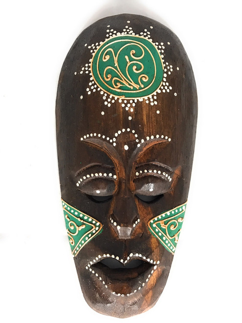 "Tribal Tiki Mask 8"" Green - Tattoo Primitive Art 
