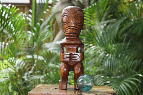 "Fisherman's Good Luck Tiki Totem 12"" Stained - Tropical Decor"