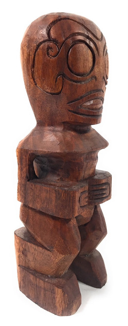 "Fisherman's Good Luck Tiki Statue 12"" Stained - Hawaii 