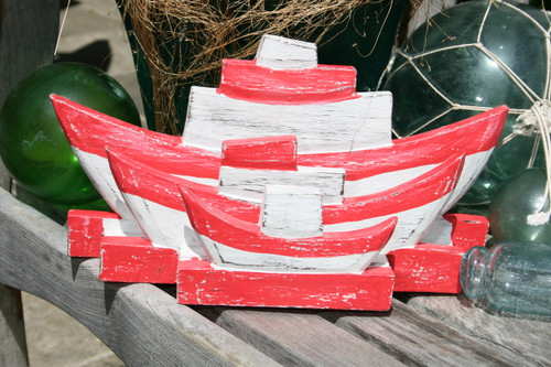 "NAUTICAL NAPKINS/LETTER HOLDER RED 8"" - NAUTICAL DECOR"