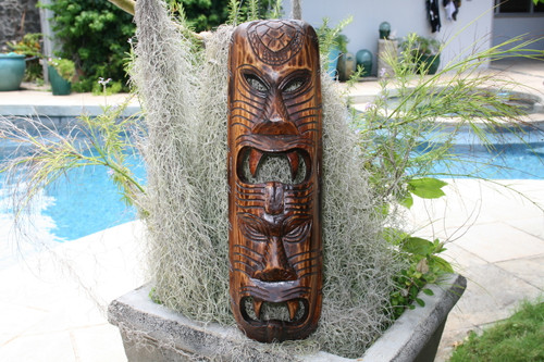 "FIJIAN TIKI MASK W/ 2 DEITIES - 20"" EVIL HUNTER - POLYNESIAN ART"