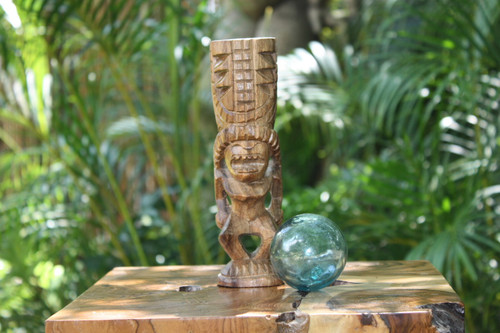 "Love Tiki Totem 8"" Natural - Hawaiian Tiki Bar Decor 