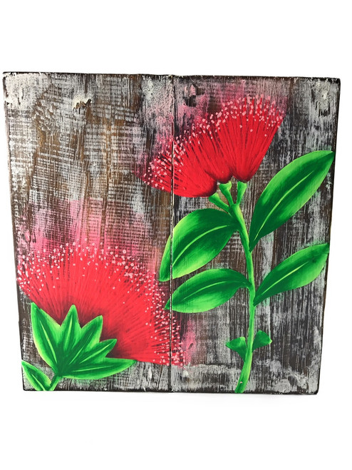 "Ohia Flower Painting on Wood Planks 8"" X 8"" Rustic Wall Decor 
