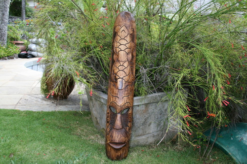 "FIJIAN TIKI MASK W/ 2 TURTLES - 40"" PROSPERITY - HAWAIIAN DECOR"