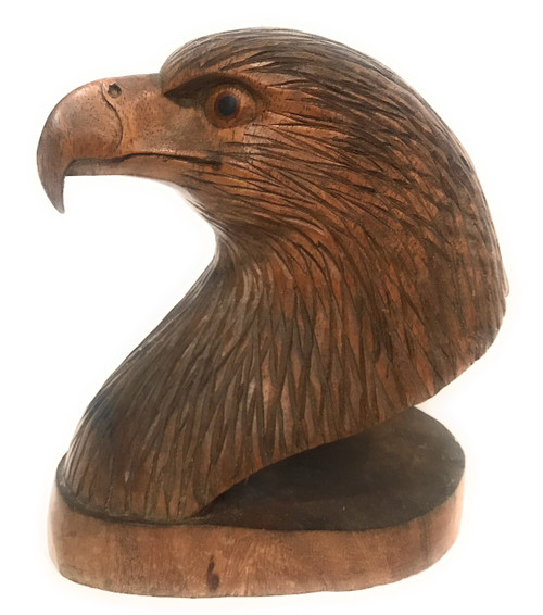 """Exquisite Eagle Head 9"""" X 7"""" Bookends Hand Carved 
