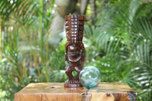 "Hurricane Tiki Totem 8"" Stained - Hawaiian Tiki Bar Decor"