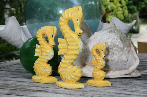 Seahorses Set of 3 - Rustic Yellow Nautical Decor | #ort17009s3y