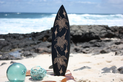 "Wooden Surfboard w/ Turtle Ohana 20"" - Surf Decor"