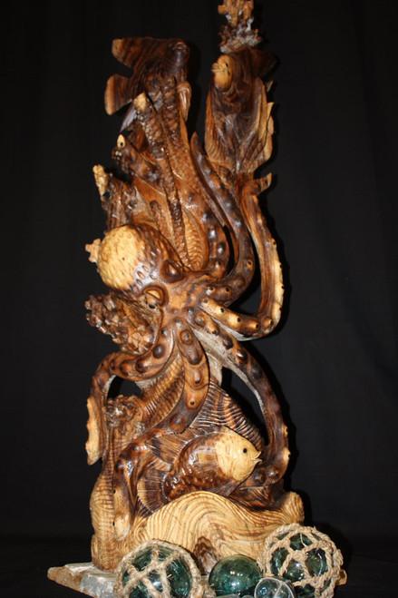 "Sealife Wooden Sculpture 40"" Octopus & Fish - Hawaiian Art Gallery"