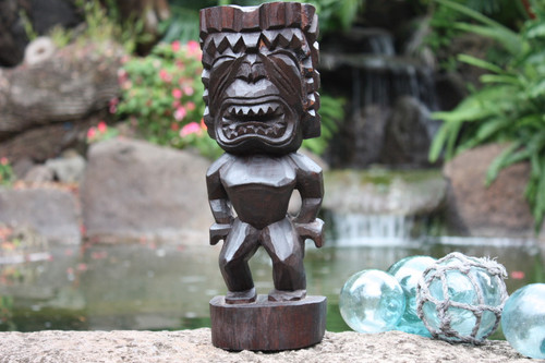 "Ku Tiki 12"" - Walnut Stain - Hawaii Museum Replica - Hawaiian Mythology"