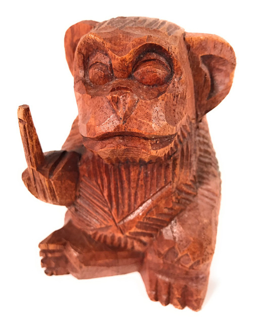 "Rude Monkey Carved 4.5"" Bad Monkey Business Flipping the Bird 
