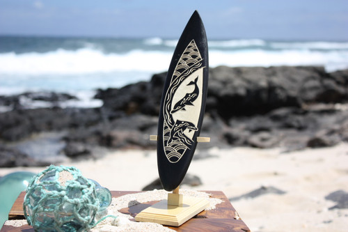 "Surfboard On Stand w/ Dancing Dolphins 10"" - Trophy"
