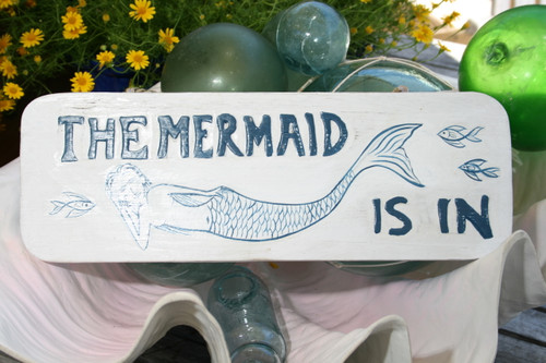 """THE MERMAID IS IN"" COTTAGE SIGN 14"" - RUSTIC WHITE & BLUE - COASTAL DECOR"