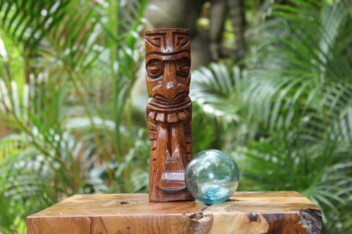 "Maori Tiki Totem 8"" Stained - Hawaiian Tiki Bar Decor"