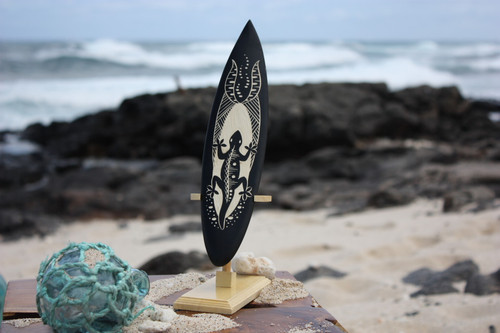 "Surfboard On Stand w/ Gecko 10"" - Trophy"