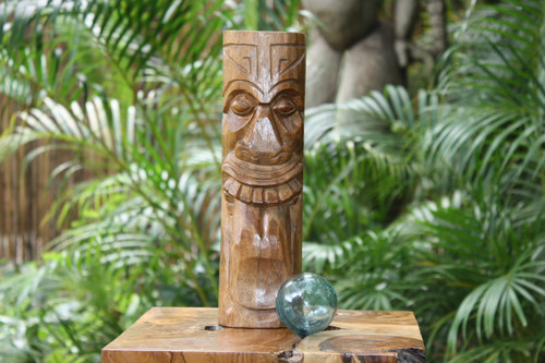 "Maori Tiki Totem 12"" Natural - Tropical Decor"