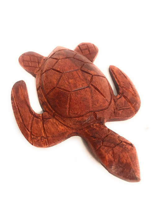 """Carved Hawaiian Turtle Honu 5"""" Stained - Hand Carved 
