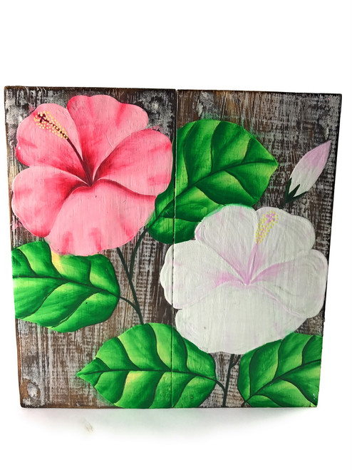 "Hibiscus Flower Painting on Wood Planks 8"" X 8"" Rustic Wall Decor 