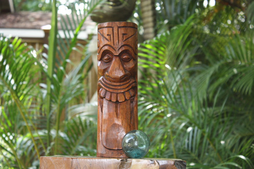 "Maori Tiki Totem 12"" Stained - Tropical Decor"