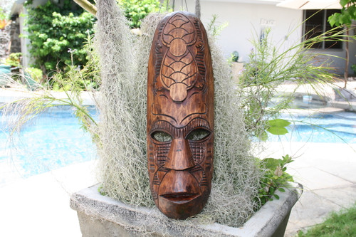 "FIJIAN TIKI MASK W/ 2 TURTLES - 20"" PROSPERITY - HAWAIIAN DECOR"