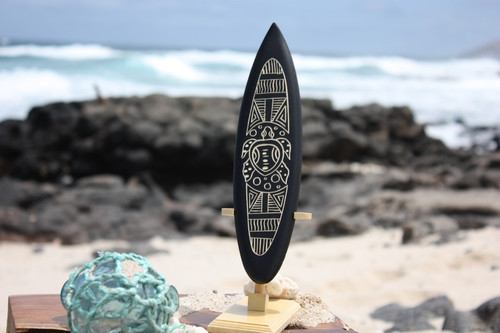 "Surfboard On Stand w/ Tribal Turtle 10"" - Trophy"