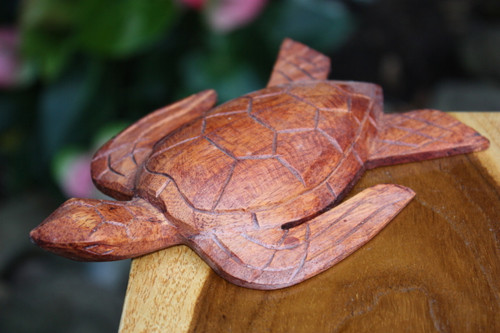 "Carved Hawaiian Turtle Honu 6"" Stained - Hand Carved 