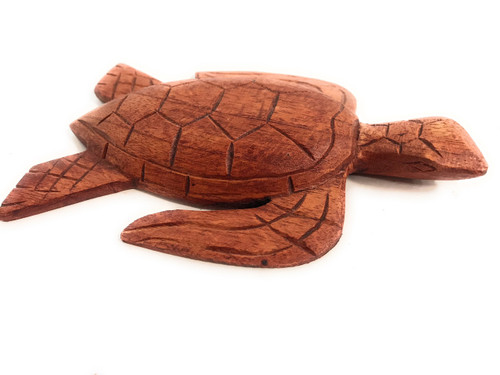 """Carved Hawaiian Turtle Honu 6"""" Stained - Hand Carved 