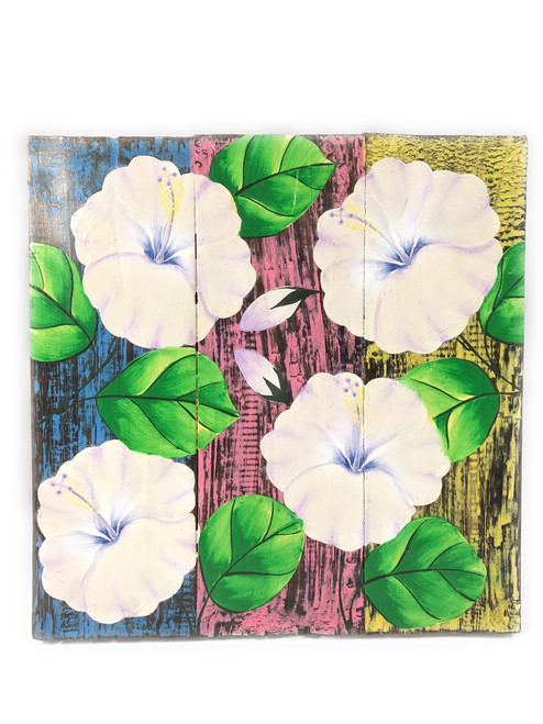 "Hibiscus Flower Painting on Wood Planks 12"" X 12"" Rustic Wall Decor 
