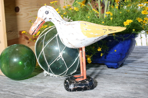 """SEAGULL BIRD"" - RUSTIC YELLOW COASTAL 14"" - GARDEN/HOME DECOR"