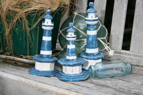 "SET OF 3 ""LIGHTHOUSES"" - RUSTIC BLUE NAUTICAL - NAUTICAL DECOR"