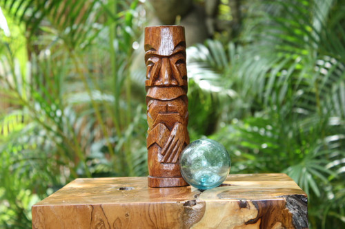"Kailua Tiki Totem 8"" Stained - Hawaiian Tiki Bar Decor"
