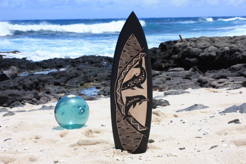 "Wooden Surfboard w/ Dancing Dolphins 30"" - Hawaii Decor"
