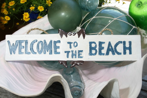 """WELCOME TO THE BEACH"" COTTAGE/BEACH SIGN 14"" - RUSTIC WHITE & BLUE - COASTAL DECOR"