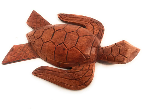 """Carved Hawaiian Turtle Honu 8"""" Stained - Hand Carved 