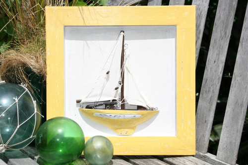 "FRAMED ""SAIL BOAT"" YELLOW COASTAL 16"" - HAND CARVED - NAUTICAL DECOR"