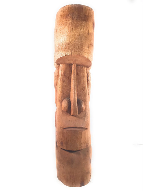 "Easter Island Tiki Totem 40"" - Natural Finish - Outdoor Tiki Decor 