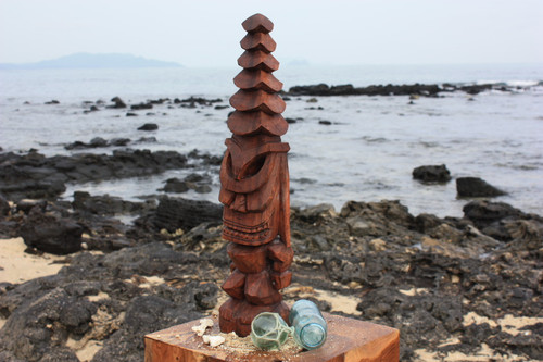 """Tiki God Temple Image 12"""" - Stained Hawaii Museum Replica"""