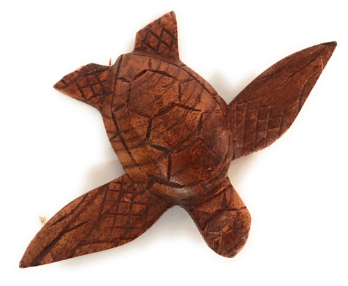 """Carved Hawaiian Sea Turtle Honu 5"""" Stained - Hand Carved 