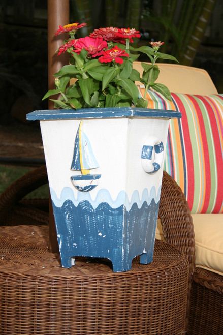 "PLANTER NAUTICAL DECOR 12"" - BLUE & WHITE NAUTICAL DECOR"